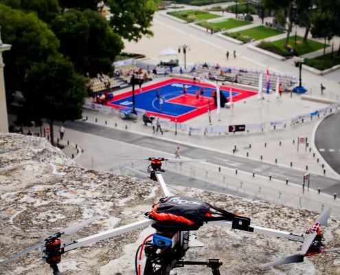 DroneContrast à l'open de France de basket 3x3